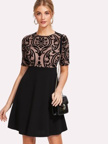 Flocked Vine Mesh Bodice Dress