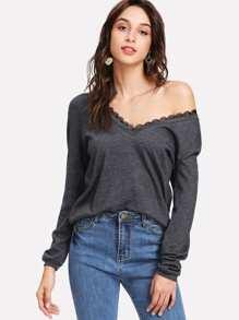 Lace V Neck Sweatshirt