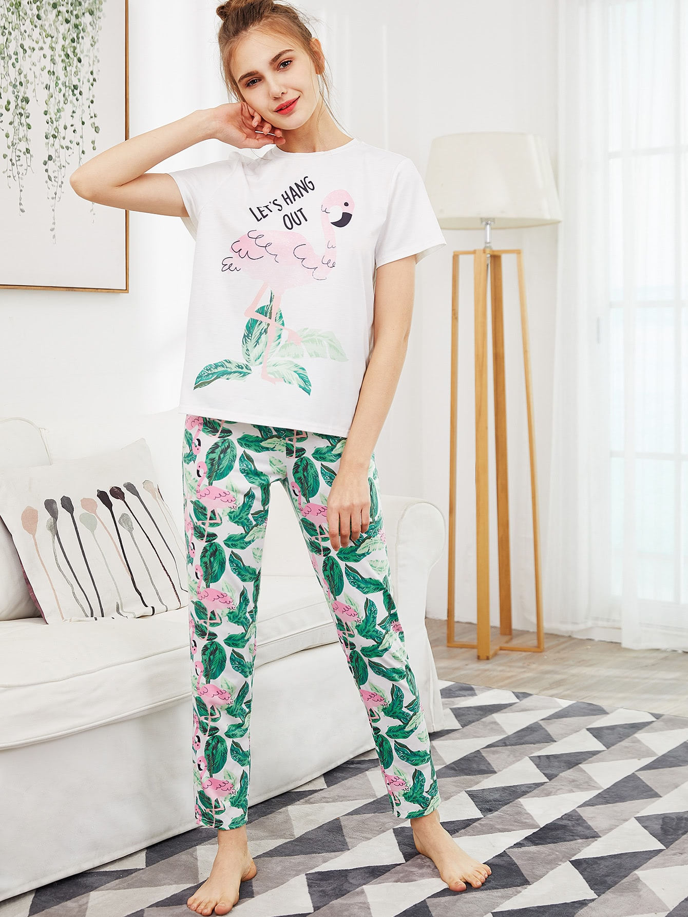 Flamingo And Jungle Leaf Print Top Pants Pajama Set