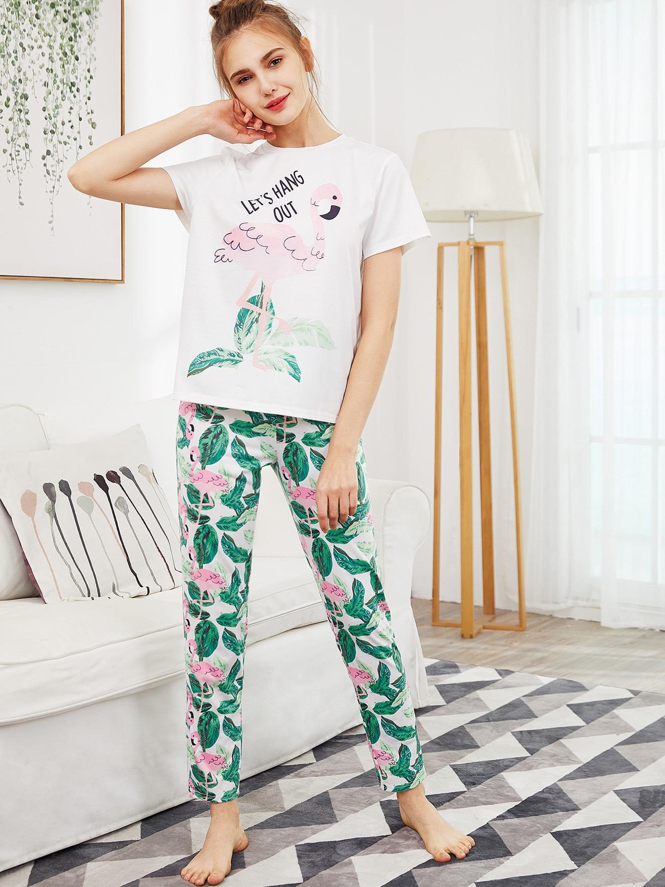 Flamingo And Jungle Leaf Print Top And Pants Pajama Set