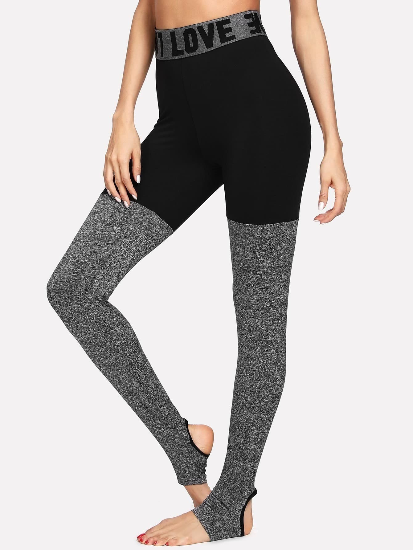 Two Tone Stirrup Leggings two tone heart