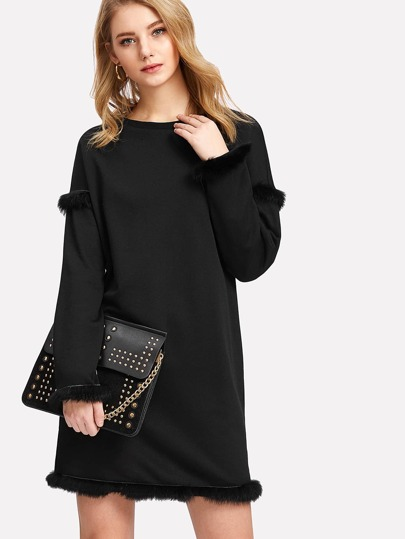 Faux Fur Detail Solid Dress