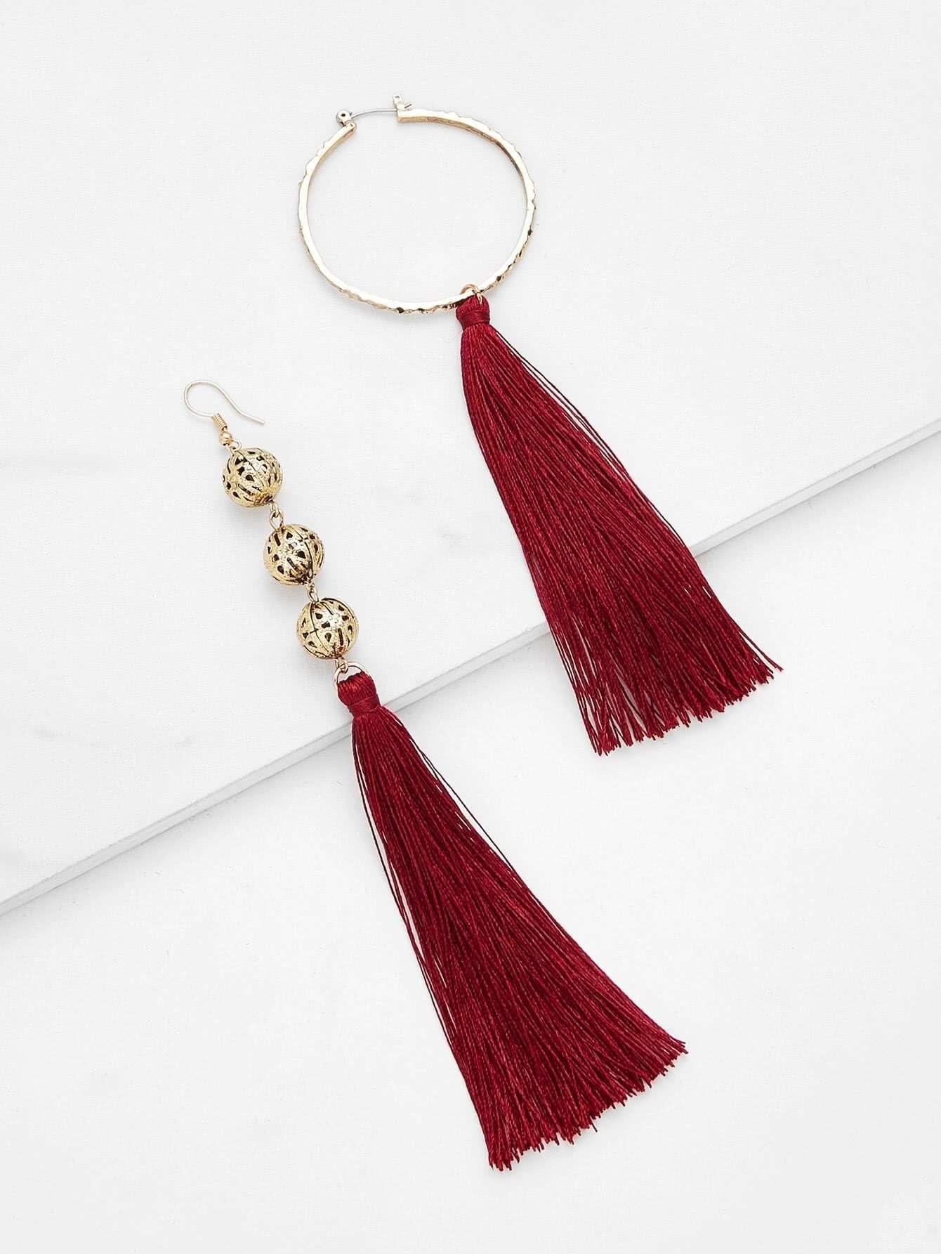Mismatch Tassel Drop Earrings silver plated strip tassel drop earrings