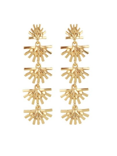 Gold Flower Type Long Earrings