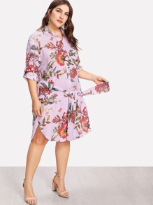 Tie Waist Mixed Print Shirt Dress