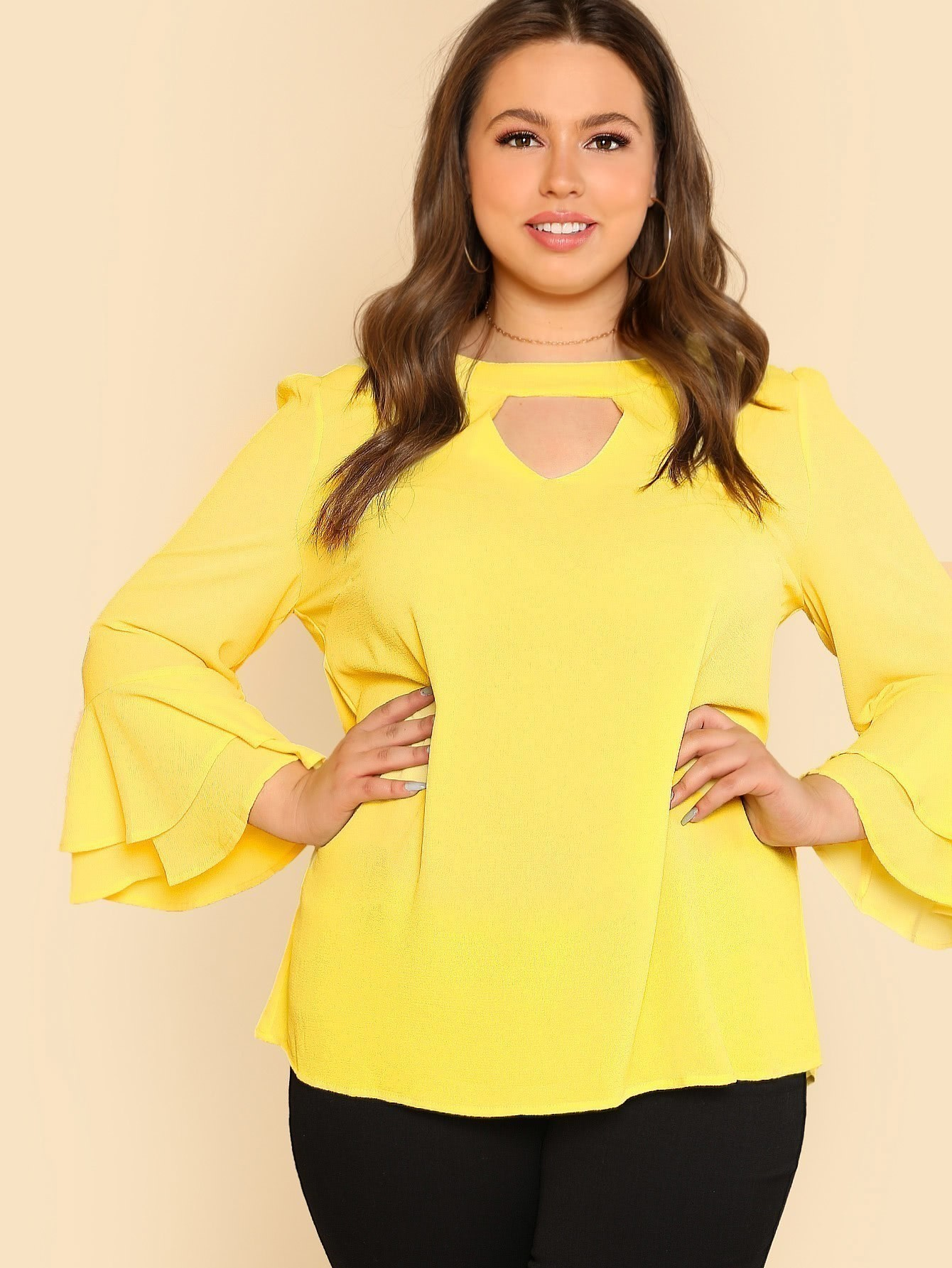 Keyhole Front Layered Flounce Sleeve Top knot front keyhole back flounce sleeve striped top