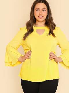 Plus Keyhole Front Layered Flounce Sleeve Top
