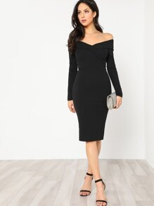 Foldover Off Shoulder Pencil Dress