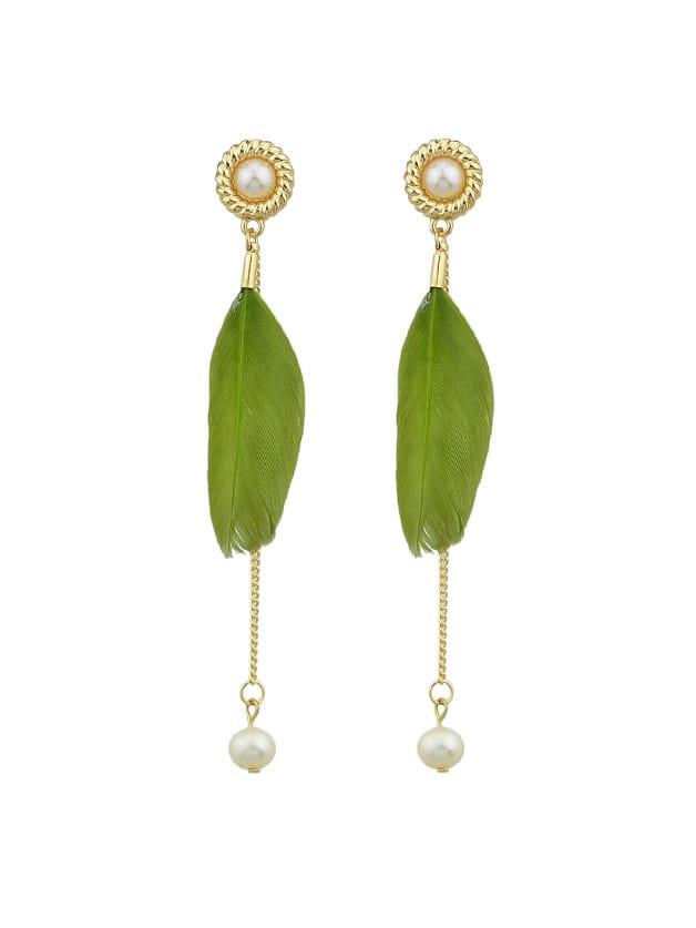 Green Elegant Feather Long Earrings green peacock feather pattern hoop earrings