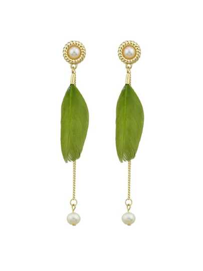 Green Elegant Feather Long Earrings