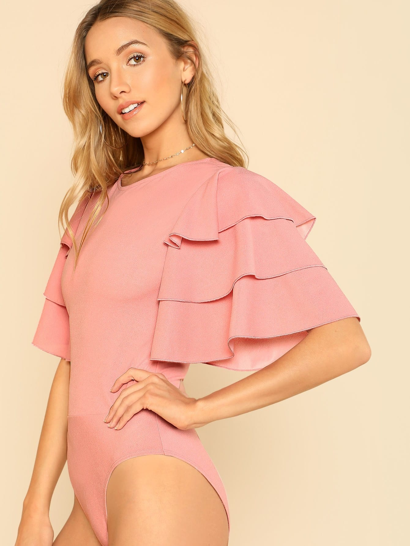 Tiered Bell Sleeve Solid Bodysuit