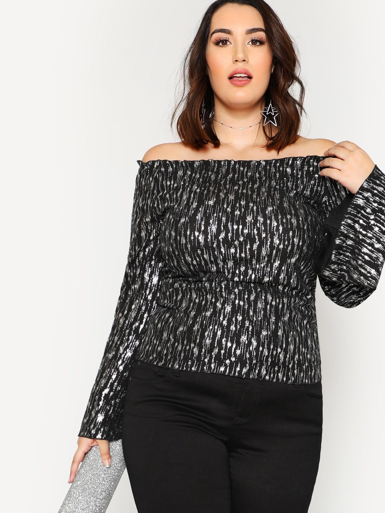 Frilled Neck Bell Sleeve Sparkle Top blouse171212721