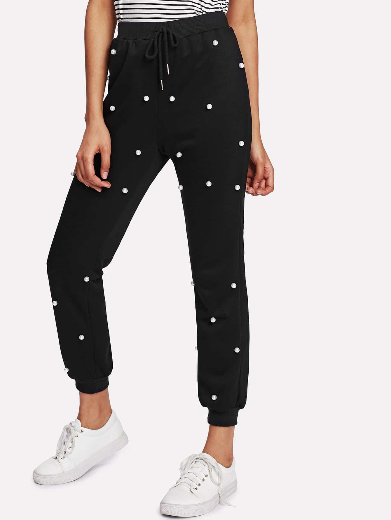 Pearl Beading Solid Sweatpants
