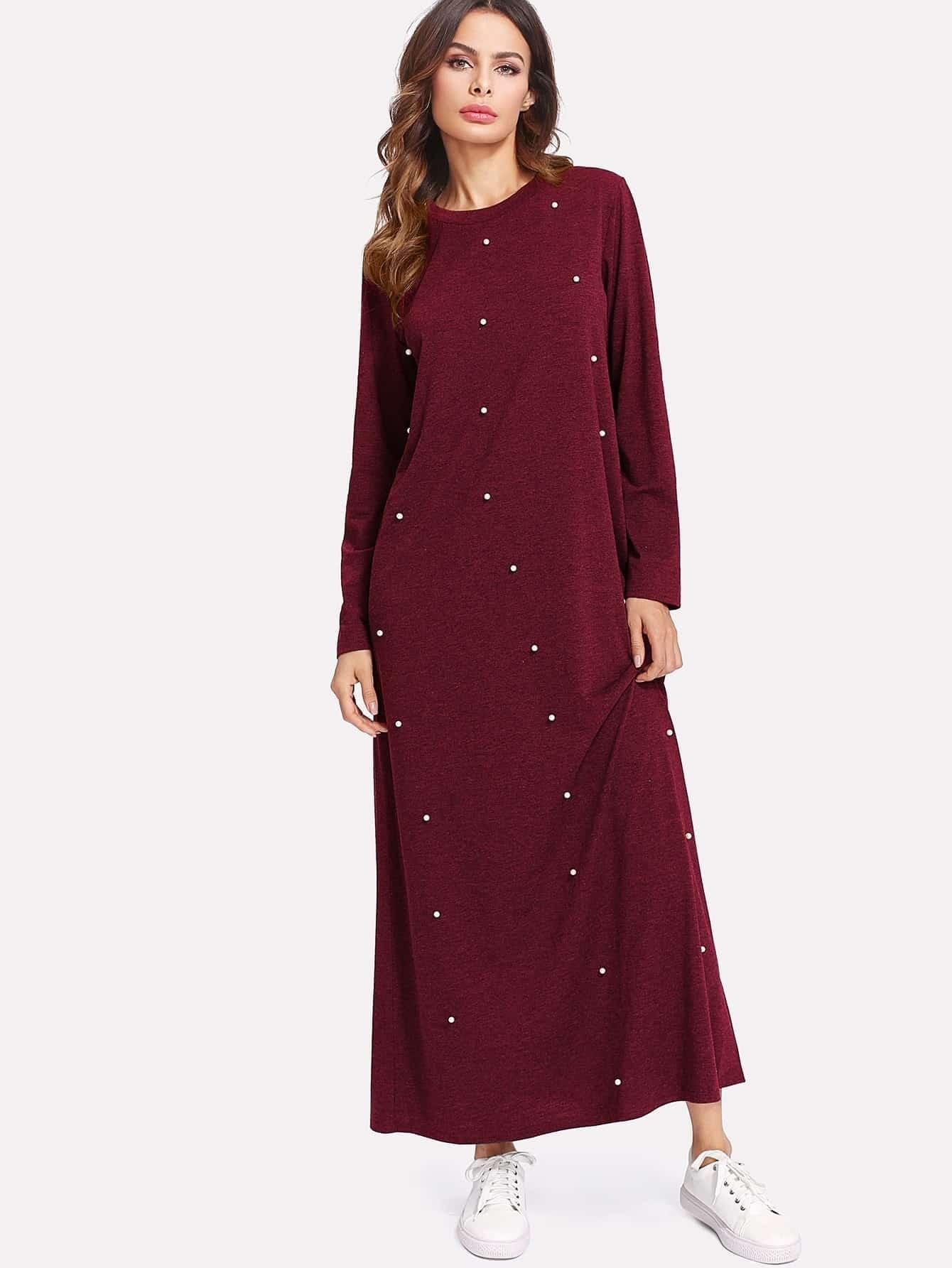 Pearl Beading Marled Knit Dress raglan sleeve marled knit dress