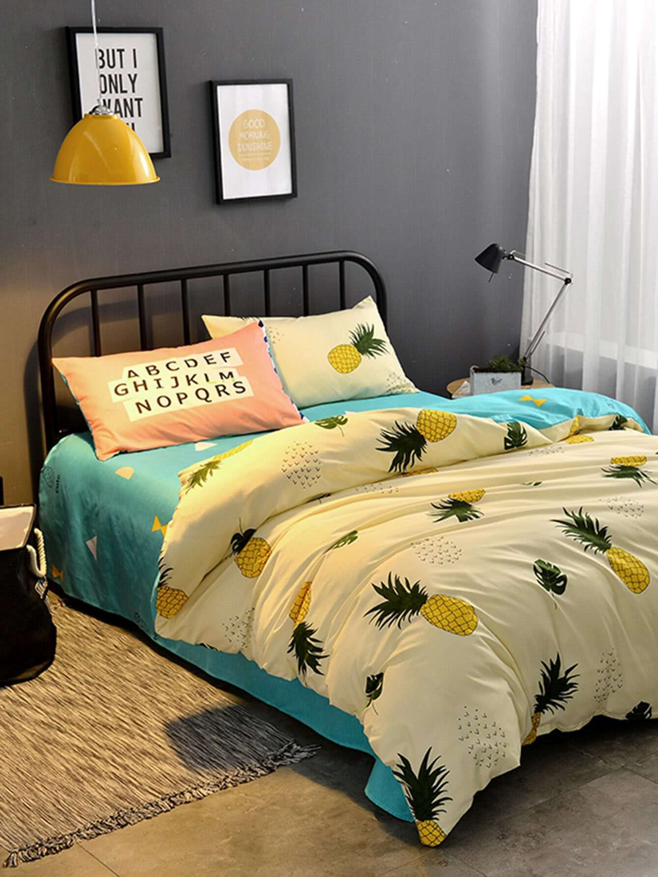 1.8m 4Pcs Pineapple Print Duvet Cover Set 1 2m 4pcs fruit print duvet cover set
