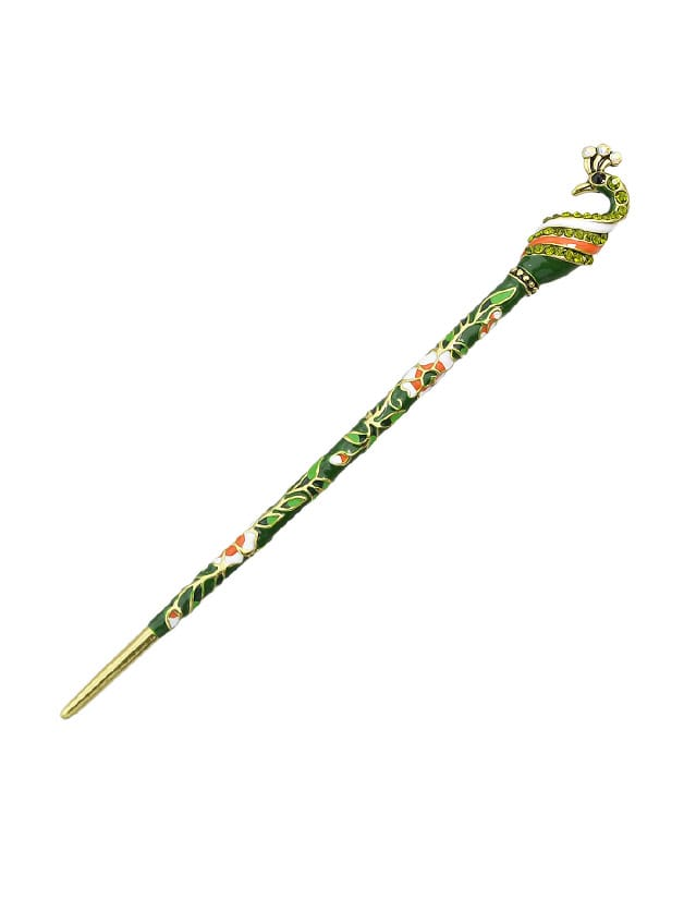Green Ethnic Style Bohemian Peacock Shape Hair Sticks beibehang peacock hair classic fashion