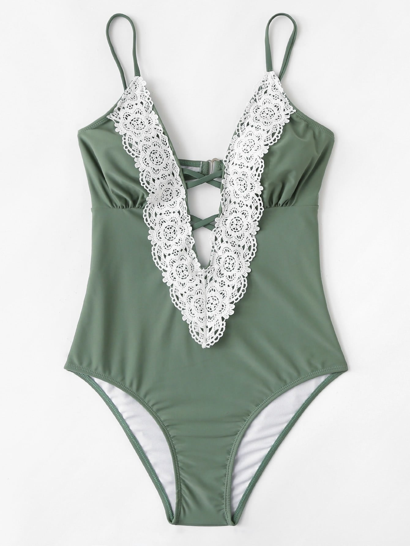 Contrast Lace Swimsuit contrast lace striped swimsuit