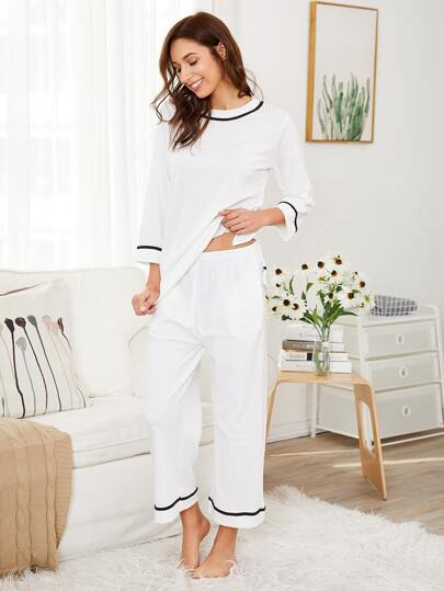 Contrast Striped Ribbed Top & Pants PJ Set