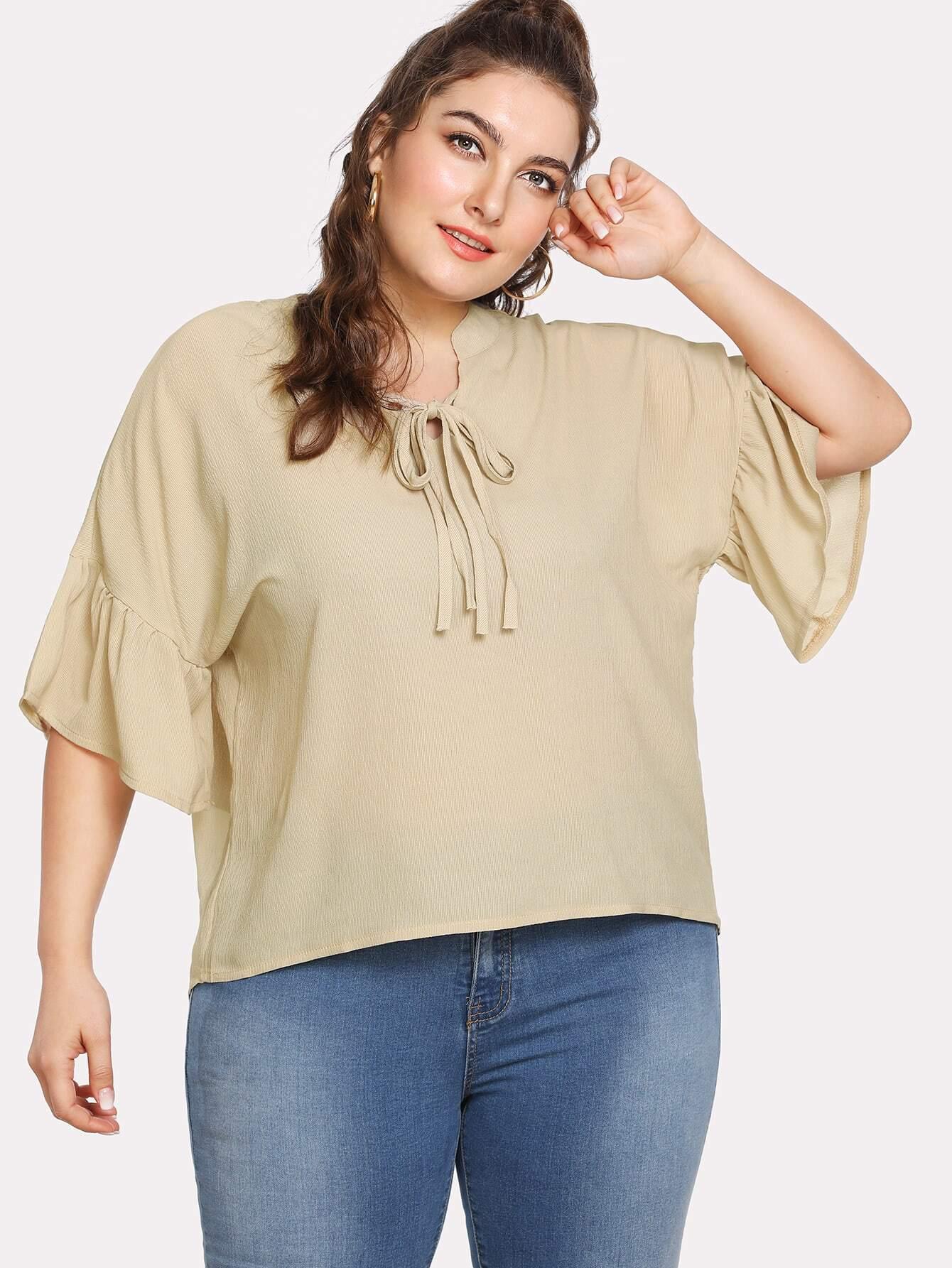 Купить Модная блуза с бантом и оборкой, Franziska, SheIn