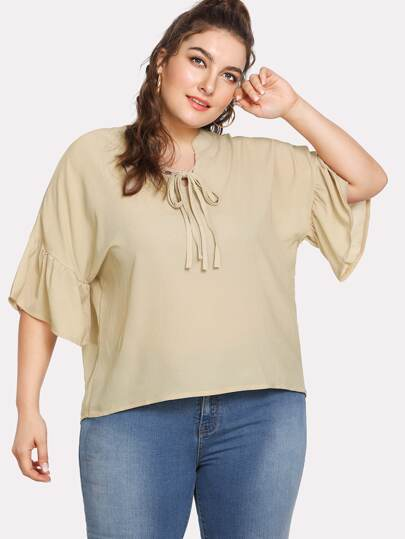 Tie Front Flounce Sleeve Blouse