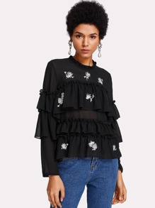 Flower Embroidered Layered Flounce Top