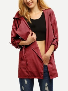 Burgundy Drawstring Pockets Hooded Coat