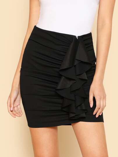 Ruched Detail Flounce Embellished Skirt