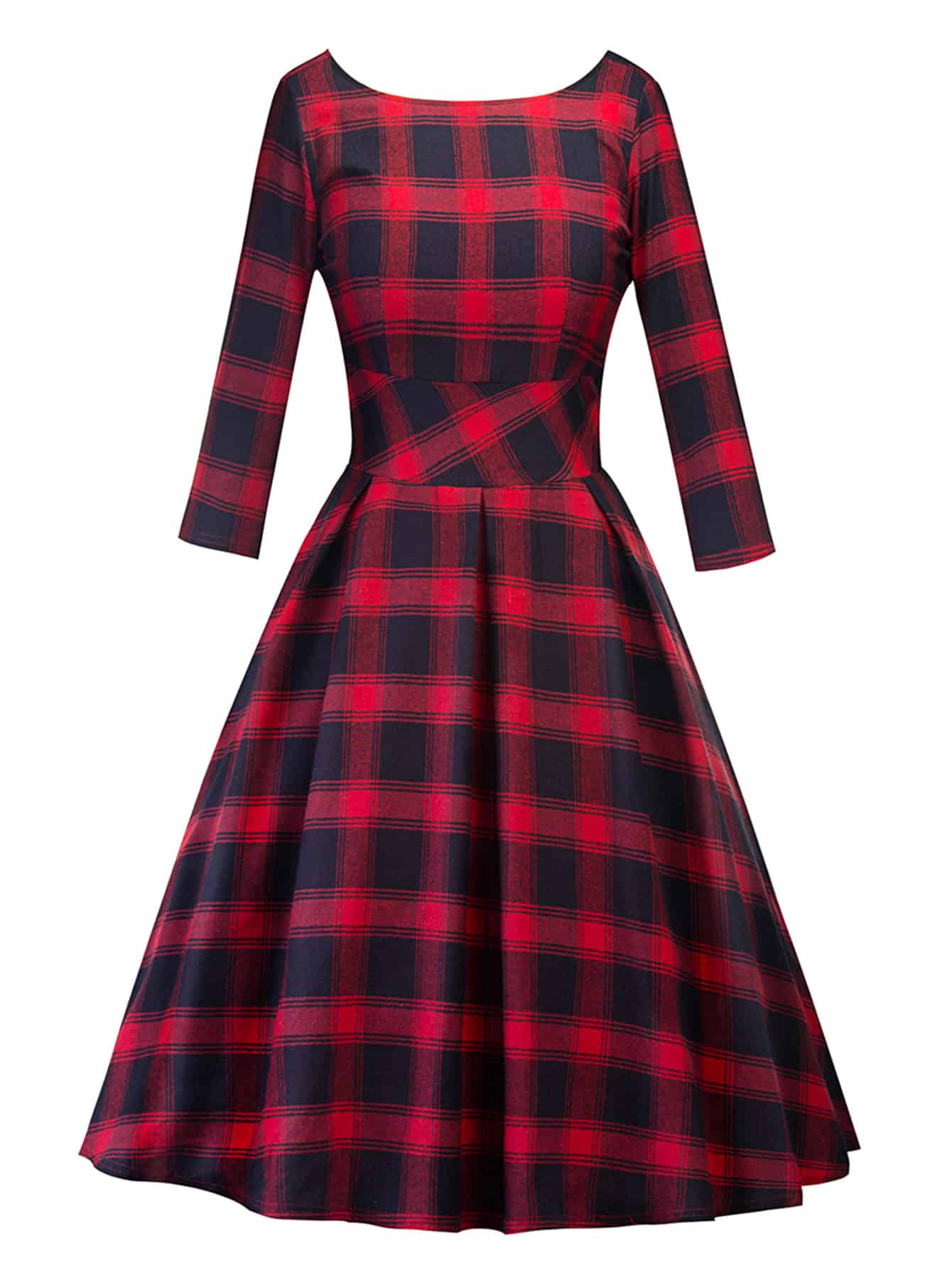 V Back Tartan Plaid Swing Dress zip back fit and flared plaid dress