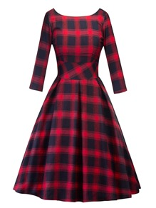 V Back Tartan Plaid Swing Dress