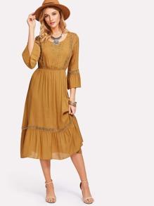 Cut Out Flounce Sleeve Ruched Waist Dress