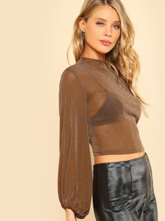 Bishop Sleeve Glitter Mesh Crop Top