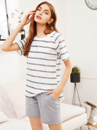 Step Hem Striped Tee & Shorts PJ Set