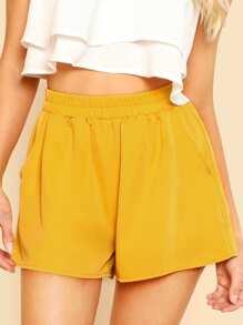 Elasticized Waist Wide Leg Shorts