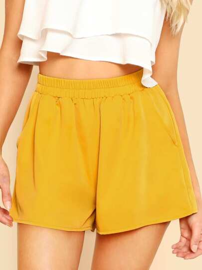 Elasticized Waist Wide Leg Shorts