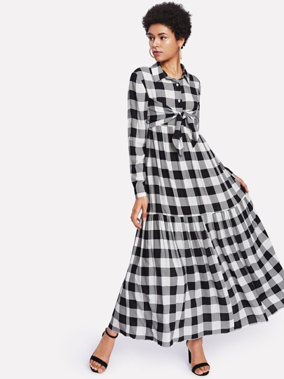 Half Placket Tie Front Checked Hijab Long Dress