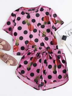 Mixed Print Velvet Top And Knot Front Shorts Co-Ord