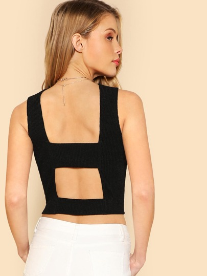 Cut Out Back Crop Solid Top