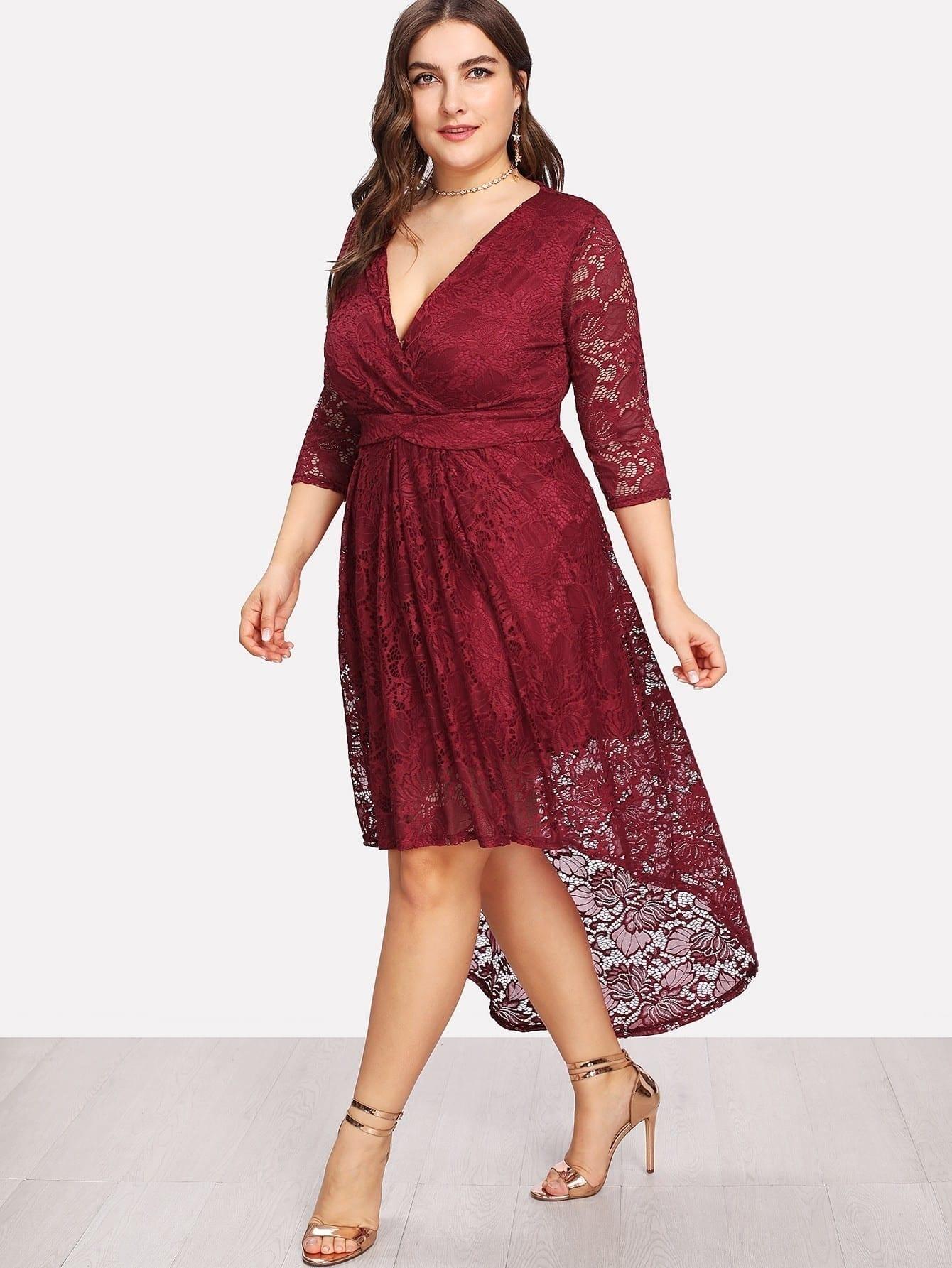 Surplice Neck Dip Hem Lace Dress cowl neck dip hem swing dress