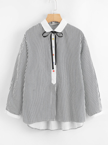 Tie Neck Step Hem Striped Blouse