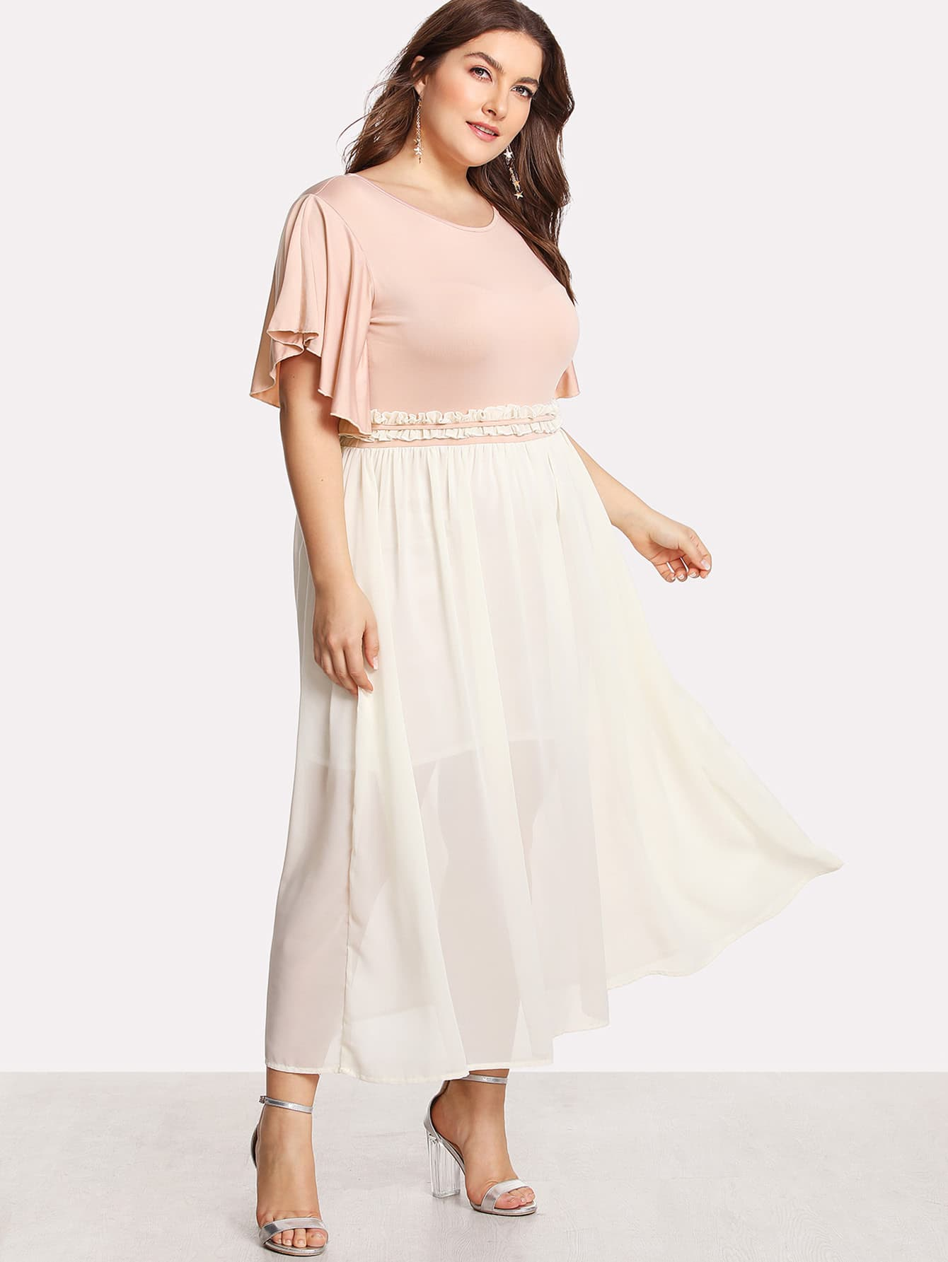 Flutter Sleeve Frilled Two Tone Dress drop crotch loose two tone pants