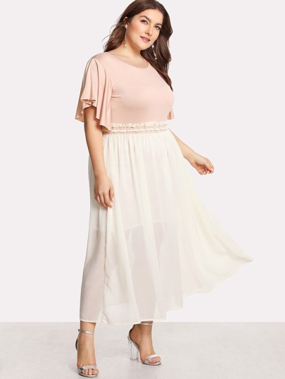 Flutter Sleeve Frilled Two Tone Dress