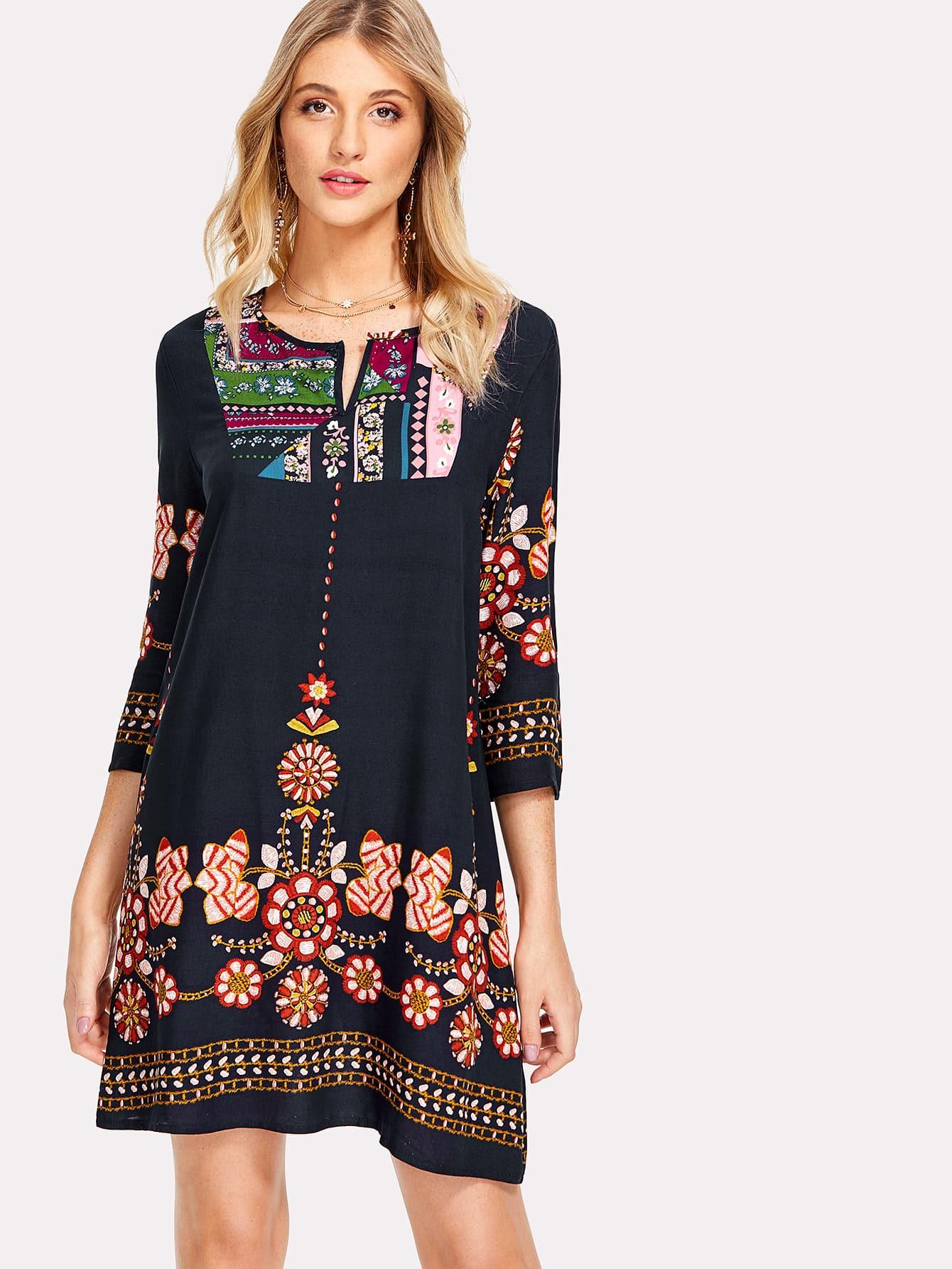 Tribal Flower Print Tunic Dress flower print tunic dress