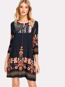 Tribal Flower Print Tunic Dress