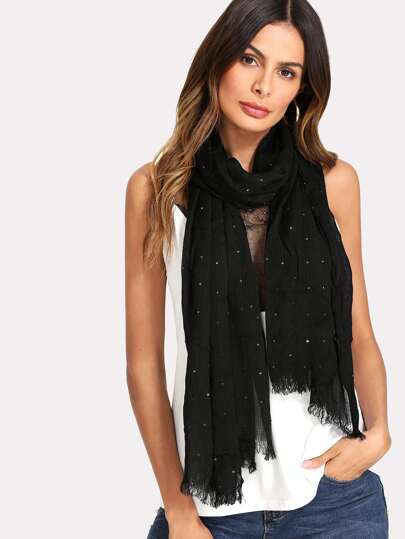 Frayed Trim Sequin Scarf