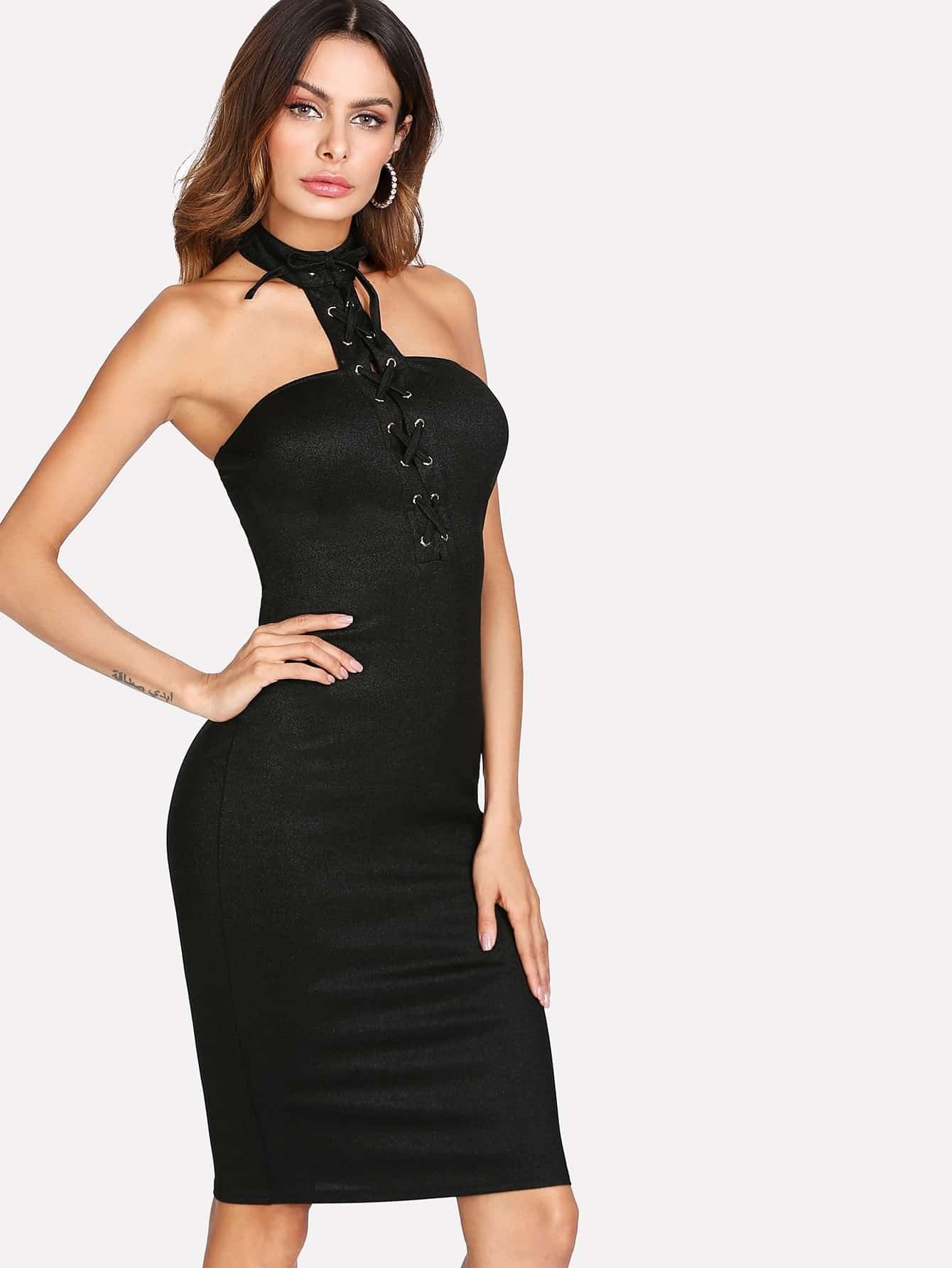 Grommet Lace Up Form Fitting Halter Dress guipure lace form fitting dress