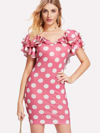 Layered Flutter Sleeve Low Back Polka Dot Dress