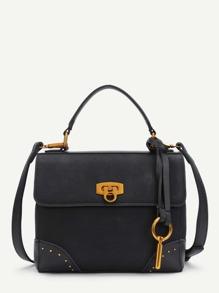 Studded Detail PU Shoulder Bag
