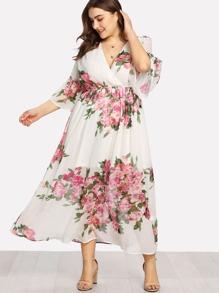 Flounce Sleeve Surplice Wrap Floral Dress