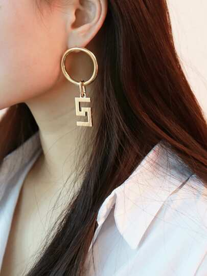 Five & Ring Design Drop Earrings