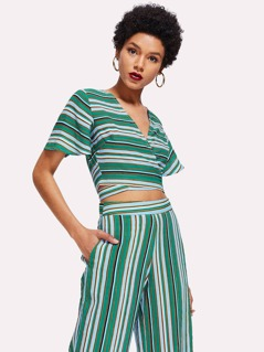 Striped Print Wrap Crop Top
